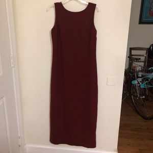 Burgundy Red Wine Pencil Maxi Dress